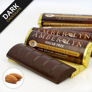 Темный шоколад с миндалем, батончик без сахара, без глютена, низкоуглеводный