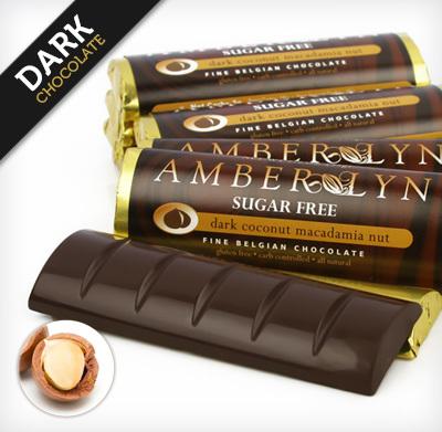 Темный шоколад с макадамией, батончик без сахара, без глютена, низкоуглеводный